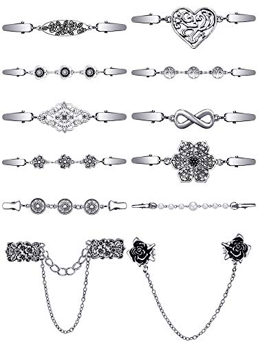 12 Pieces Vintage Sweater Shawl Clips Collar Chain Clips Retro Cardigan Collar Dresses Clips Brooch Pins for Women Girls (Retro Style)