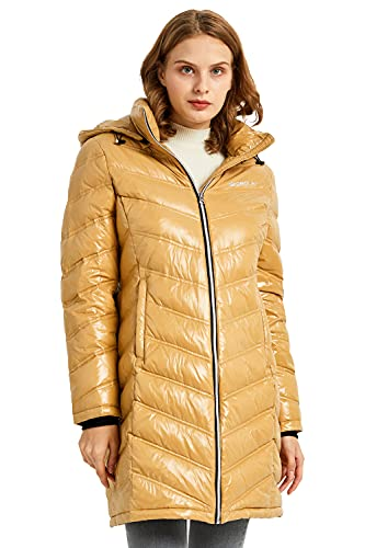 Orolay Women's Quilted Winter Long Down Coat Shiny Hooded Puffer Jacket Lark L
