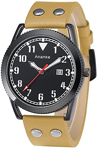 QHG Reloj de Pulsera de Cuarzo de la Banda de Cuero de la Moda de los Hombres con el cronógrafo a Prueba de Agua con el Calendario del día Hebilla de la Hebilla antial a Prueba de arañazos