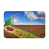 """Adowyee Bath Mat Yellow Brick Road Leading to The Emerald City in The Land of Oz with a Pair of Ruby Cozy Bathroom Decor Bath Rug with Non Slip Backing 16"""" X 24"""""""