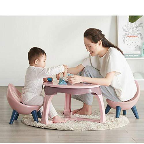 Juego de mesa y silla para niños de jardín de infancia, mesa de estudio para bebé, escritorio, de plástico, para estudio, para sala de estudio (tamaño: 2 sillas; color: rosa)