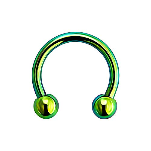 16 Gauge - 6 MM Länge grün eloxiert G23 Grade massivem Titan Circular Barbell mit Kugel Septum Piercing