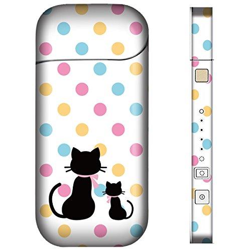 iQOS アイコス スキンシール 【 親子猫ドット-ハッピー 柄 】表面・裏面・側面セット 2016年発売バージョン対応