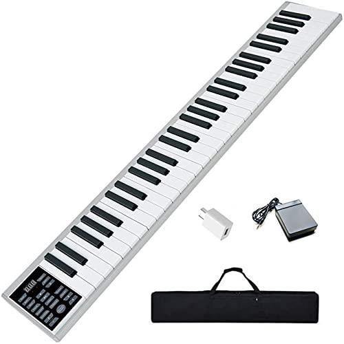 ニコマク NikoMaku 電子ピアノ 携帯型 SWAN 61鍵盤 2020年バージョン 軽量小型 本当のピアノと同じサイズ ワイヤレス長時間利用 練習にピッタリ MIDI対応 ペダル ソフトケース付き