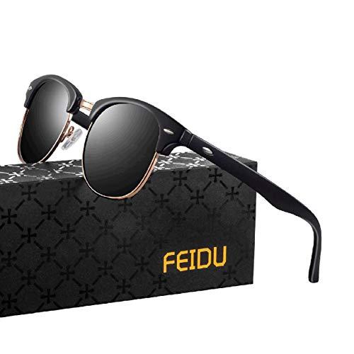 FEIDU Halbrahmen Polarisierte Klassische Metall Sonnenbrillen Herren-Retro Polarisierte Sonnenbrille Damen FD 3031 (Matt-schwarz, 2.04)