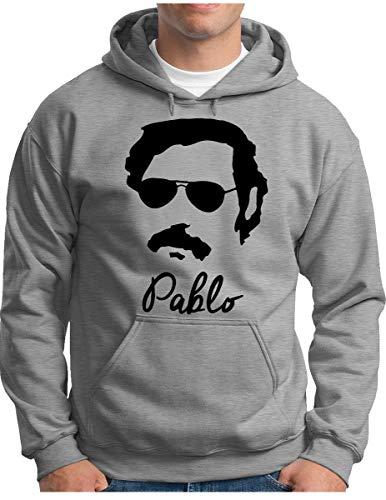 OM3® Drug Lord Pablo Hoodie - Herren - Colombia Cocaine Icon Koks - Kapuzen-Pullover Grau Meliert, 3XL