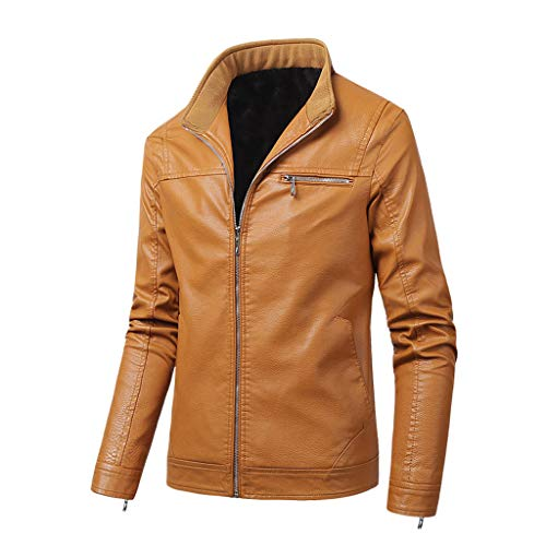 Best Bargain Seaintheson Men's Jacket Coat,Winter Imitation Leather Loose Outwear Slim Fit Pure Colo...