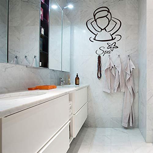 Señoras Spa Pegatinas De Vinilo Impermeables Para Pared Póster Mural Spa Baño Azulejos Decoración Del Hogar De Vidrio Decoración De La Pared Decoración De La Casa 70X105Cm