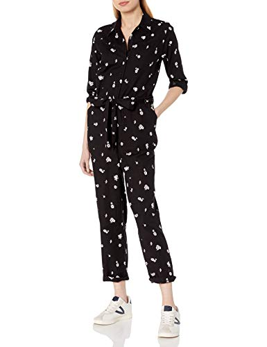 Lucky Brand Women's Long Sleeve Button Up Tie Waist Logan Printed Jumpsuit, Black Multi, X-Small