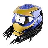 NNYY Predator - Casco de motocicleta, diseño creativo y fresco, fibra de carbono, para hombre y mujer, antiUV, antiempañamiento, para motocicleta, locomotora, certificación integral, azul, XL