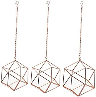 Koyal Wholesale Metal Geometric Terrarium Set of 3 (Geometric Set, Rose Gold)