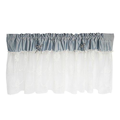Rideau Romain Tulle Tissu Bleu Fil Blanc Dentelle Nœud Papillon Rideau De Café Cuisine Court Rideau Semi-Ombre Petit Rideau Pour Décoration D'intérieur Poche À Tige,Blue,1Pc(200X80cm)