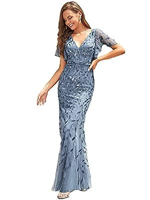 Ever-Pretty Womens Mermaid Floor-Length Glitter Bridesmaid Dress for Wedding Dusty Navy US18