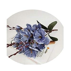 Sevem-D 5 Fork Magnolia Bouquet Artificial Silk Flowers Wedding Party Home Decoration Fake Flower