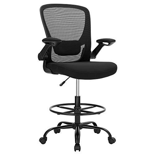 SONGMICS Bürostuhl, ergonomischer Arbeitshocker, mit klappbaren Armlehnen, Netzbespannung, verstellbare Lendenwirbelstütze, für Bar, Stehschreibtisch, schwarz OBN026B01