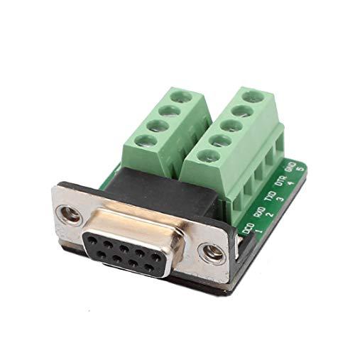 New Lon0167 DB9 RS232 Placa Adaptadora Hembra Serie 9 Posición Terminal Conector Módulo de Señal Verde con Almohadillas de Aislamiento(DB9-RS232-Adapterbuchse für 9-polige serielle Buchse Signalmodul