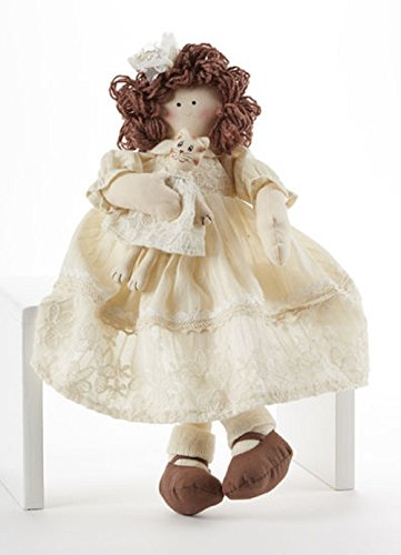 Delton Products Sitting Lace Doll with Kitten 16 Inches Home Accent