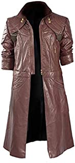 CHICAGO-FASHIONS Mens Devil Cosplay DM Cry Costume Black Leather Hooded Coat