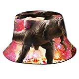 LOUIS ROBSON Unisex Breathable Bucket Hat Unicorn Riding Dinosaur in Space Summer Fisherman Cap Wide Brim UV Protection for Women Men Boys Girls