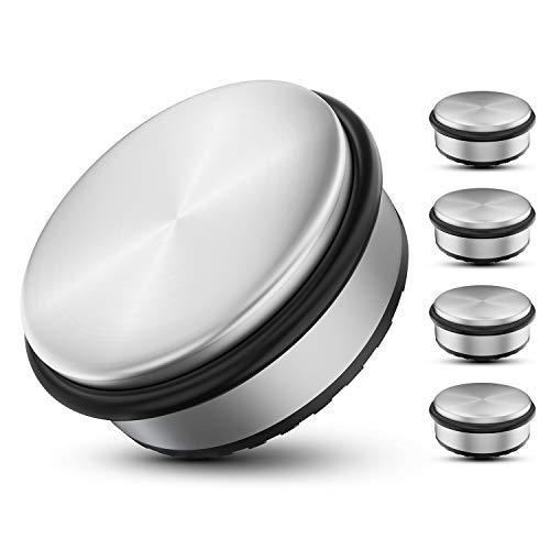 galace® Edelstahl Türstopper [4er Set] - Premium Tür Stopper ohne Bohren - Schwerer Türstopper Boden - 10x4,5cm Tuerstopper - inkl. 2 extra Gummiringe (Edelstahl)