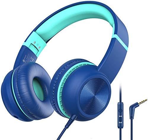 iClever Cuffie per Bambini, Limitatore del Volume Opzionale con Microfono, Pieghevoli, con Cavo Aux in Nylon da 3.5 mm, Cuffie per Bambini On Ear per Tablet, Aereo, Scuola