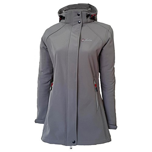Dry Fashion Damen Softshell Mantel Sylt tailliert Regenmantel Regenjacke, Farbe:grau, Größe:44