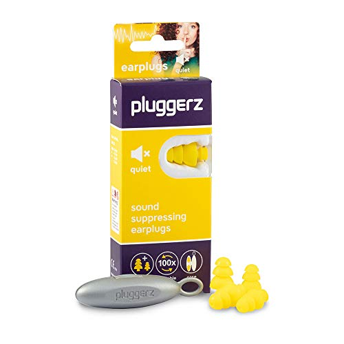 Pluggerz Quiet Uni-Fit oordopjes met uniek filter voor ruisonderdrukking in alle situaties die een verhoogde concentratie vereisen, van zacht silicone, 100 x herbruikbaar.