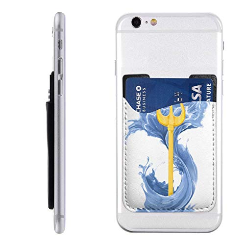 Poseidon Greek God Cross Phone Card Holder, Stick-on ID Credit Card Wallet Phone Case Pouch Sleeve Pocket for iPhone, Android and All Smartphones