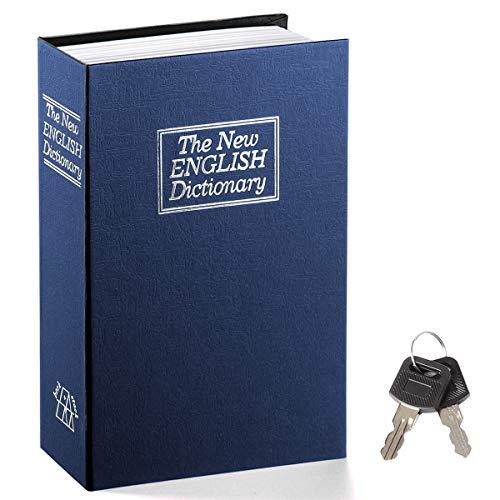Book Safe with Key Lock – Jssmst Home Dictionary Diversion Safe Lock Box Safe Metal Box, Navy Large, SM-BS004NL
