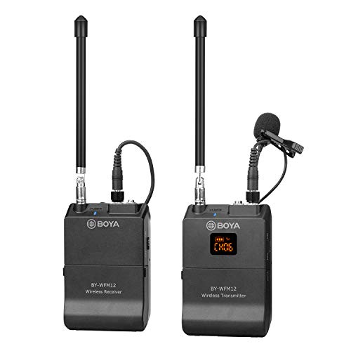 Professional Wireless Lavalier Mic, BOYA BY-WFM12 12-Channels VHF Transmitter and Receiver System