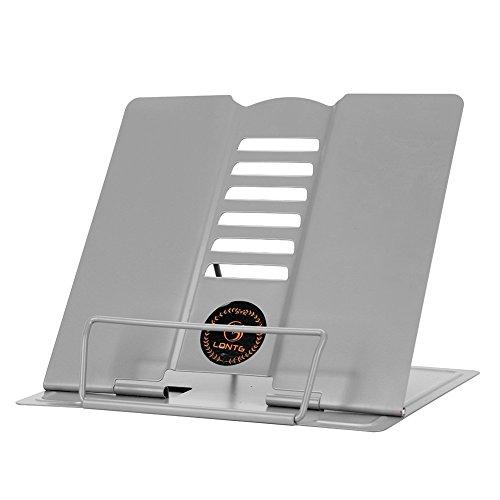 Metall Buchstütze ErgonomischeBuchständer Grau Kochbuchhalter Tablets Bücher Ständer Halter Leseständer mit verstellbarer Neigung für Arbeitszimmer Küche Kinderzimmer Tablethalter Buchaufsteller