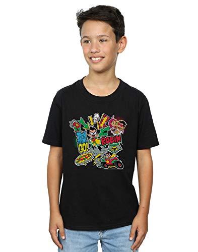 DC Comics Niños Teen Titans Go Robin Montage Camiseta Negro 7-8 Years