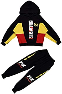 WTYD Family Goods Boys Hooded Casual Sport Two-Piece (Color : Black, Size : 120cm)