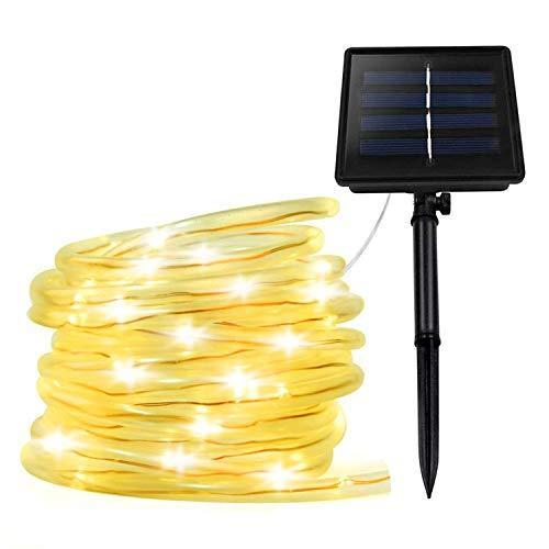 XUNATA - Cuerda de luces LED alimentada por energía solar, impermeable, para jardín, patio, terraza, tira de luz, multicolor, 1.20V