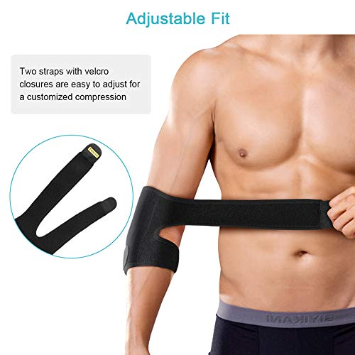 Elbow Brace for Tendonitis, Adjustable Elbow Support with Dual-Spring Stabiliser, Breathable Elbow Strap for Golfers Elbow, Tennis Elbow, Arthritis, Sports Injury and Provides Support