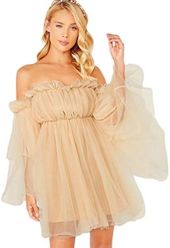 Romwe Women s Romantic Off Shoulder Flounce Long Sleeve Wedding Ruffle Mesh Party Mini Dress product image