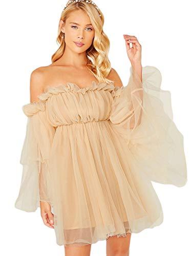 Romwe Women's Romantic Off Shoulder Flounce Long Sleeve Wedding Ruffle Mesh Party Mini Dress Beige, Pastel Large