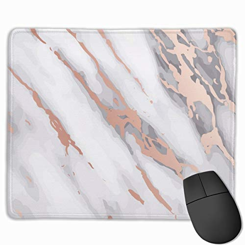 Mouse Pad Rose Gold Marble Girly Mousepad Non-Slip Rubber Gaming Mat Rectangle Mouse Pad