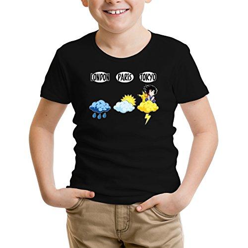 Okiwoki T-Shirt Enfant Noir Dragon Ball Z - Pokémon parodique Sangoku et Pikachu : Météo Tokyo : (Parodie Dragon Ball Z - Pokémon)
