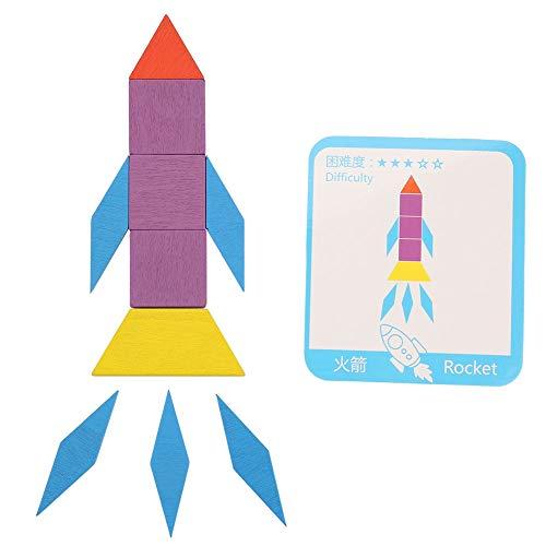 Voluxe Juguetes de juego para niños, colorido de 9,4 x 8,4 x 4,1 cm, tablero de rompecabezas de madera resistente para niños niños niños pequeños para juegos educativos