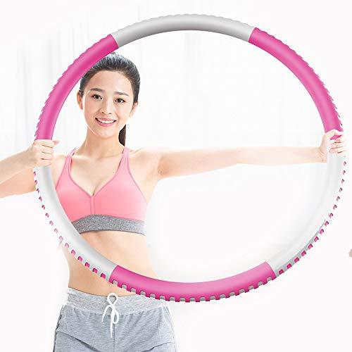 Hula Hoop Reifen Kinder Holz, Fitness Hula Hoop Reifen 1,2kg fitnesskreis für Bauch Reifen mit Schaumstoff Gewichten Einstellbar Breit 88 cm beschwerter Hula-Hoop-Reifen für Fitness