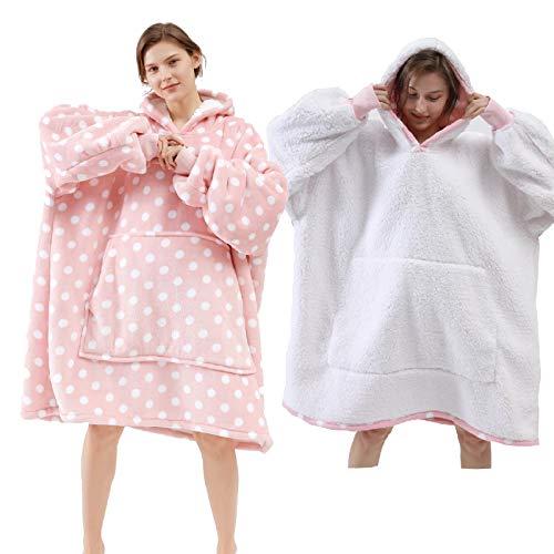 Dewellyoo Übergroße Sherpa Hoodie, Unisex Hoodie, tragbare Kapuzendecke, super warm, weich, bequem, Kapuzenpullover, Decke, Einheitsgröße für alle Menschen (1,3 kg) Gr. One Size, pink mit Punkten…