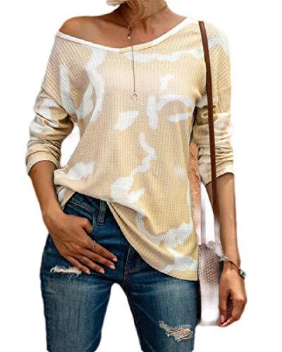 Yisism Women Tie Dye V Neck Tops Long Sleeve Plus Size T-Shirt Blouse Yellow US 3XL