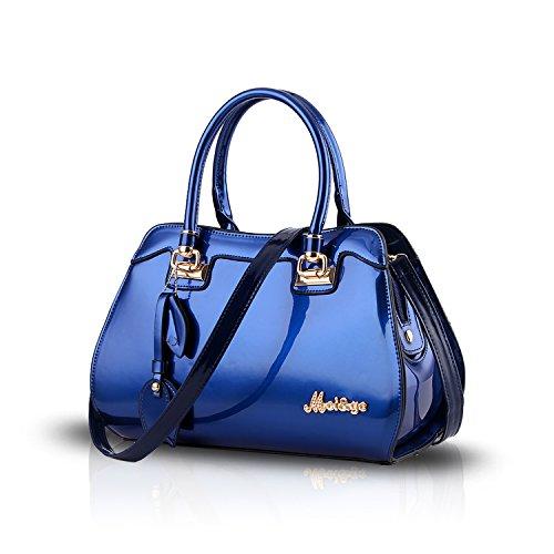 Tisdaini® Sacs portés Main Femme Tendance Vernis Cabas Sacs portés épaule Sacs bandoulière Sac a Main Bleu
