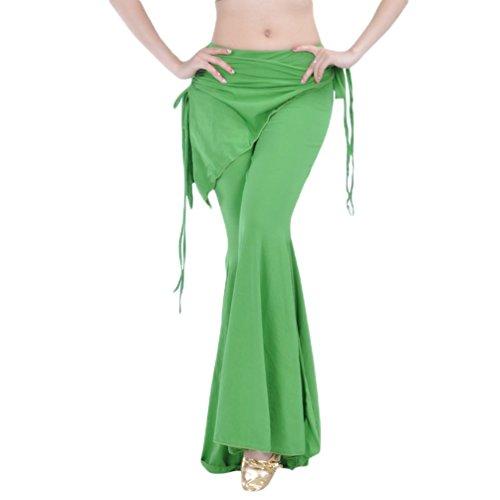YuanDian Damen Bauchtanz Hosen Breites Bein Schlaghosen Elegante Orientalischen Arabischen Tribal Fusion Dance Performance Wrap Taille Hüfte Hosen Kleidung Moosfarbe
