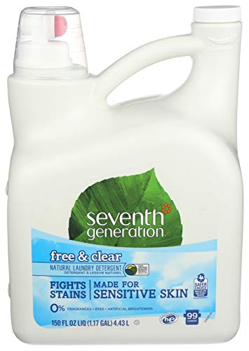 Seventh Generation Liquid Laundry Detergent, Free & Clear, 150 oz, 99 Loads (Packaging May Vary)