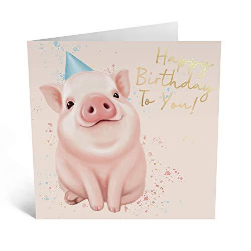 Central 23 - Tarjeta de felicitación de cumpleaños para hombres y mujeres, diseño de cerdo con sombrero de fiesta, diseño humorístico, viene con divertidas pegatinas