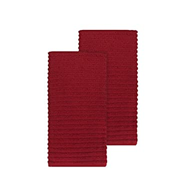 Ritz Royale Collection 100% Combed Terry Cotton, Highly Absorbent, Oversized, Kitchen Towel Set, 28  x 18 , 2-Pack, Solid Paprika Red