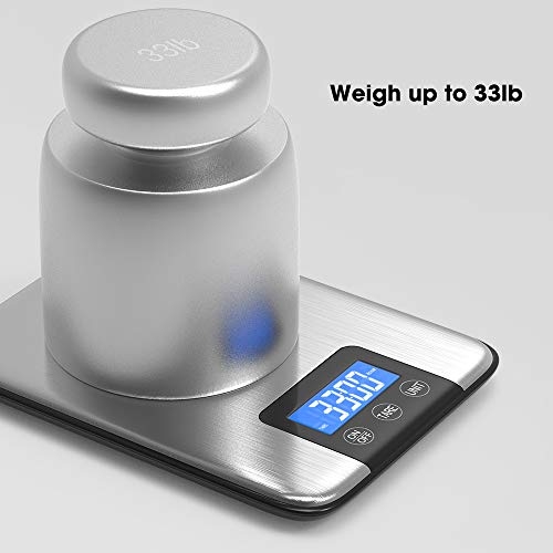 Nicewell 33lbs 15kgs Max Digital Kitchen Scale Accurate Multifunction Food Weight Scale Grams and Ounces Clean Modern with Premium Stainless Steel Finish Includes Batteries