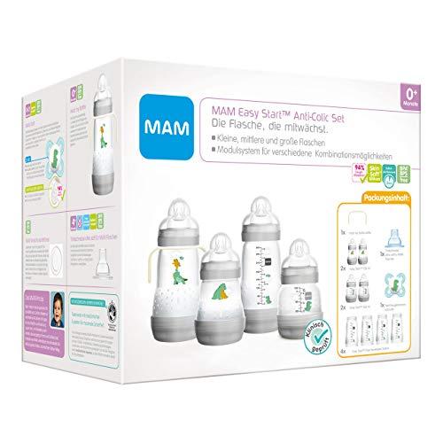 MAM Easy Start Anti-Colic Babyflaschen Set, mitwachsende Baby Erstausstattung mit Schnuller, Flaschen etc., Baby Geschenk Set, ab Geburt, grau